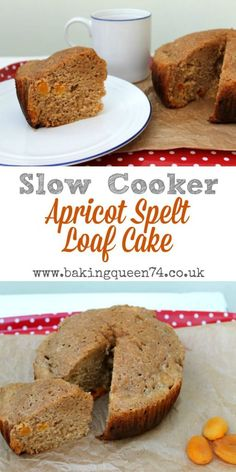 Slow cooker apricot spelt loaf cake - bake this delicious, healthier cake in your crockpot today Healthy Cake, Healthy Dessert Recipes, Baking Recipes, Real Food Recipes, Delicious Desserts, Cake Recipes, Slow Cooker Cake, Slow Cooker Desserts, Best Slow Cooker