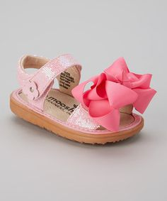 c3e59f8bf Love this Mooshu Trainers Pink Sparkle Bow Squeaker Sandal by Mooshu  Trainers on  zulily!