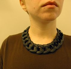 Chain link necklace from bicycle inner tube. for wrist cuff