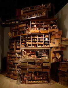 & Memories& installation by Hiroko Kono.i love books. Instalation Art, Cabinet Of Curiosities, Old Books, Book Nooks, I Love Books, Bookshelves, Book Art, Sweet Home, Memories