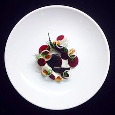 Roasted beetroots with buttermilk and blue cheese mousse toasted walnuts red wine balsamic reduction & flavoured with liquorice. Uploaded by @leinonenhanna #gastroart by gastroart