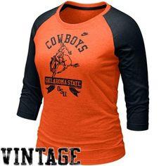 Nike Oklahoma State Cowboys Ladies Vault Three Quarter Sleeve Raglan T-Shirt - Orange-Black #UltimateTailgate #Fanatics