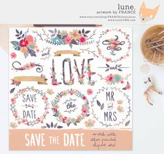 GET 3 FOR 2. Save The Date Painted by FRANCEillustration on Etsy