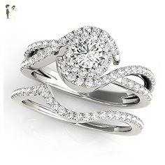 14K White Gold Unique Wedding Diamond Bridal Set Style MT50989 - Wedding and engagement rings (*Amazon Partner-Link)