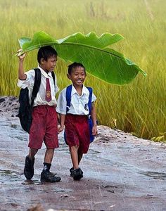 """BBC Boracay says: """" Almost nothing can tell you more about happiness in the Philippines than this photo. Two young school boys walking happy together in the rain under a banana leave as umbrella. Just do it with a smile - Philippines."""""""