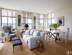 The family room features an eclectic mix of antique and vintage pieces.