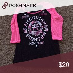 Women's American fighter shirt 3/4 sleeve women's American fighter shirt Buckle Tops Tees - Long Sleeve