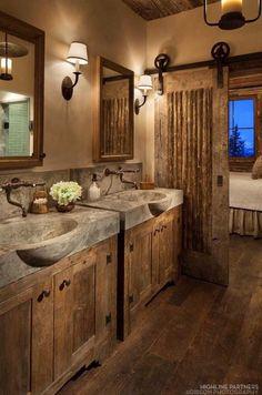 Beautiful log home bathroom.