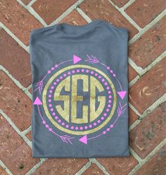 Personalized Arrow Dot Frame Tshirt  Full back design with left chest monogram.