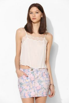 Lucca Couture Faded Floral Denim Mini Skirt #urbanoutfitters