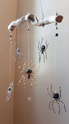 Beaded Spider Mobile Suncatcher Gothic