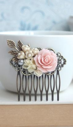 Pink Rose Flower Comb, Pink and Ivory Flowers, Brass Leaf Hair Comb. Bridesmaid Gifts. Pink vintage Inspired Rustic Spring Wedding  by Marolsha   https://www.etsy.com/listing/207705464/pink-rose-flower-comb-pink-and-ivory?ref=shop_home_active_23&ga_search_query=pink%2Bcomb