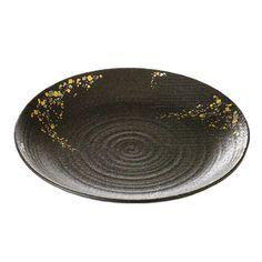 スバル 31丸のお皿黒いお皿に金、銀色を散りばめた、高級感のあるお皿です。内容:和皿×1サイズ:W31×H3.5cm日本製(美濃焼)