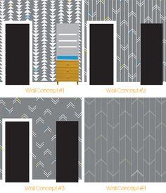 Sharpie Paint Pen Arrow Nursery Wall  Yellow & Gray Arrow Nursery Wall Design Concepts