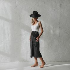 Lniana spódnica z wiązaniem grafitowa Mofflo