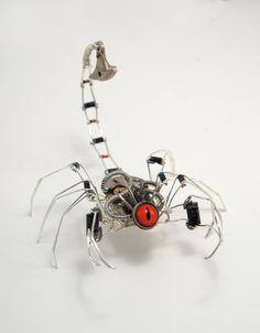 Steampunk Scorpion sculpture by clemcrea
