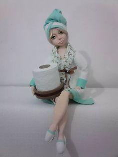 boneca em eva - porta papel higiênico
