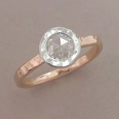 Rose Cut Moissanite Engagement Ring in 14k Rose Gold by esdesigns