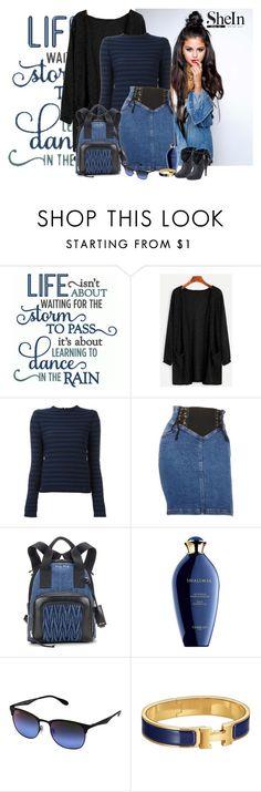"""SheIn black fuzzy cardigan"" by lorrainekeenan ❤ liked on Polyvore featuring Sonia Rykiel, Moschino, Miu Miu, Guerlain, Ray-Ban, Hermès and Jennifer Lopez"
