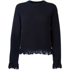 Proenza Schouler Fringe Sweater ($590) ❤ liked on Polyvore featuring tops, sweaters, kirna zabete, blue sweater, fringe tops, woolen sweater, navy blue top and proenza schouler