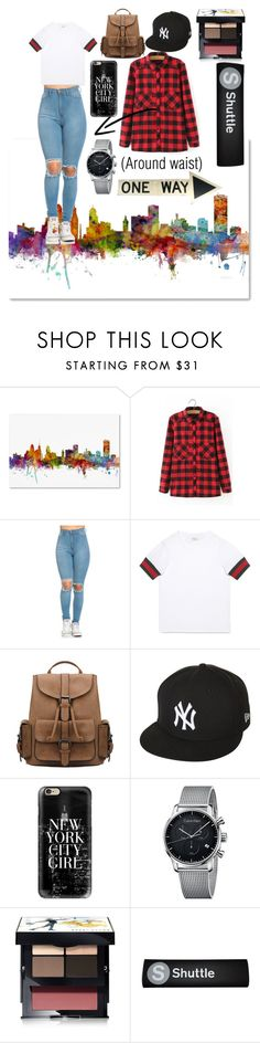 """""""New York City"""" by marybean14 ❤ liked on Polyvore featuring Trademark Fine Art, WithChic, Gucci, New Era, Casetify, Calvin Klein and Bobbi Brown Cosmetics"""