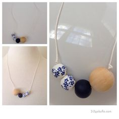 Wood bead, glass beads clay bead, paper string necklace