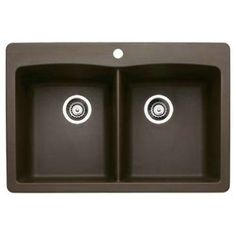 Blanco 440218 Diamond Equal Double Bowl Silgranit II Drop In Kitchen Sink In Cafe Brown
