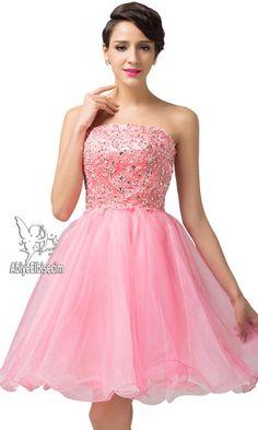 kısa abiye işlemeli pembe  renk ,abiye modelleri, beyaz elbise,elbise modelleri strapless abiye elbise
