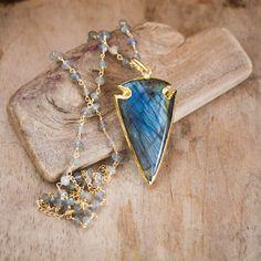 Long Labradorite Necklace, Arrowhead Necklace, Gold Labradorite Jewelry, Bohemian Rosary Necklace, Gold Arrowhead Gemstone Pendant Necklace,