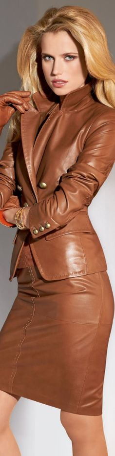 Carmel color Leather blazer with matching leather skirt.