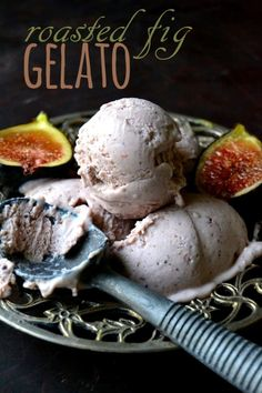 Roasted Fig Gelato ~ this decadent homemade ice cream is made with fresh figs and mascarpone cheese for a rich and creamy treat. Ice Cream Treats, Ice Cream Desserts, Köstliche Desserts, Frozen Desserts, Ice Cream Recipes, Delicious Desserts, Dessert Recipes, Frozen Treats, Fig Recipes