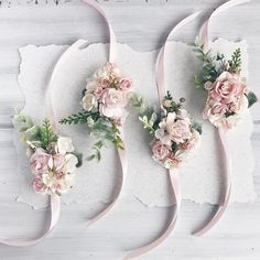 Flower wrist corsage Bridal bracelet bridesmaids by SERENlTY