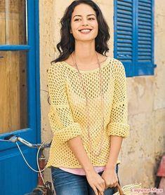 Свободный ажурный джемпер – прекрасный выбор для лета. Его можно носить с юбками и джинсами, поверх топов и сарафанов. РАЗМЕРЫ 38–42 ВАМ ПОТРЕБУЕТСЯ