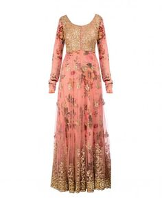 Vintage pink anarkali kurta with sequined bodice. Zari and stone work embellished hem. Sequin and zari embroidered floral motifs adorn the kurta. Scoop neck with loop buttons on front. Long sleeves. Floral printed lining. Padded bustier. Vintage pink churidar leggings and sequin embellished dupatta includedWash care: Dry clean only