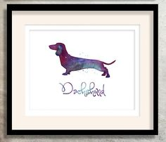 Dachshund Watercolor Silhouette Collection from the by TriPodDog