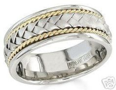 14k white and yellow gold mens 85mm braided wedding band by KNRINC, $1025.00