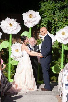 Paper Flower Wedding backdrop -Photo By Eric Boneske- Living With Color Designs Blog