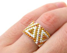 Beautiful beaded ring. Ethnic style seed bead ring. Peyote stitch ring. Ring made with Miyuki delica seed beads.  Band width - 5 mm Custom size.  More peyote rings (seed bead rings) from my shop you can see here: https://www.etsy.com/shop/HappyBeadwork?section_id=18818205