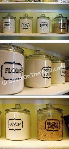 New kitchen wall organization glass jars Ideas Kitchen Labels, Pantry Labels, Jar Labels, Kitchen Pantry, New Kitchen, Kitchen Decor, Vinyl Labels, Kitchen Ideas, Pantry Ideas