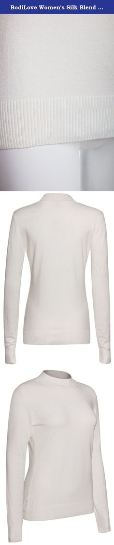 BodiLove Women's Silk Blend Stretch Knit Mock Turtleneck White L. Our Mission is to provide women with the essentials to put their best selves forward every day. We believe quality, comfort, and structure are key to achieving an effortlessly elegant look. To do this we carefully curate clothing with sleek silhouettes that moves with our customers in the office, at home, at the gym, or wherever they decide to go. Our classic solid long sleeve mock neck top is made from a blend of cotton...
