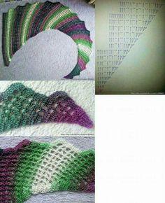 Crochet Shawls And Wraps, Knitted Shawls, Crochet Scarves, Crochet Clothes, Crochet Diagram, Crochet Chart, Crochet Stitches, Crochet Patterns, Cute Crochet