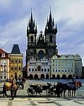 Gothic exterior of Our Lady Before Tyn Church on main square in Prague