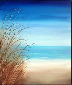 Painting idea, easy beach paintings for beginners.