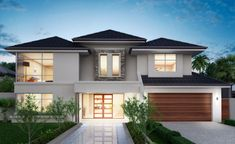 Featuring a stunning front elevation, grand curved staircase and spacious upstairs sitting area, the luxurious ambience of this home is. Model House Plan, My House Plans, House Front Design, Modern House Design, Modern Houses, Dream Home Design, Home Design Plans, Double Storey House, Storey Homes
