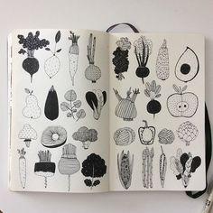 More veggies #IFDrawAWeek #IFDrawAWeek15 #sketchbook #moleskine #micron #vegetables #doodle #drawing #creativebug #makeartthatsells #pattern
