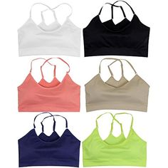 eaa2d73ddc3bf ToBeInStyle Women s Pack of 6 Cross-Back Sports Bras Assorted Colors