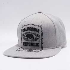 Heather Grey Premium Acrylic Fabric and Jack Daniels California Embroidery with Outline. California Republic, Big Bear, Dad Hats, Snapback, Baseball Hats, Products, Baseball Caps, Baseball Hat, Snapback Hats