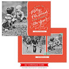 INSTANT DOWNLOAD  Christmas Card Photoshop template  by birdesign, $8.00
