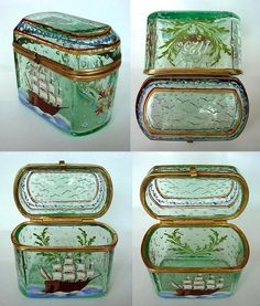 Antique Bohemian Enamel & Glass Jewelry Casket Box Sailing Ship Painting #snuffbox