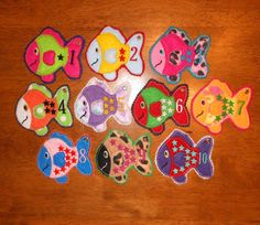 In The Hoop Counting Felt Fish Designs for Embroidery Machine. $7.99, via Etsy.